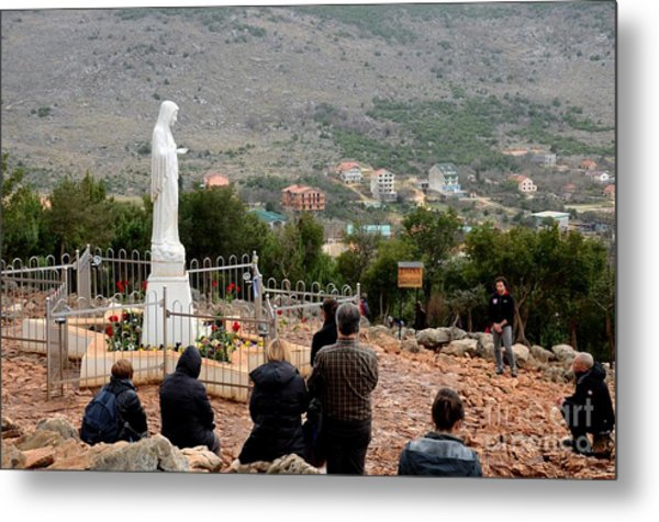 Catholic Pilgrim Worshipers Pray To Virgin Mary Medjugorje Bosnia Herzegovina Metal Print