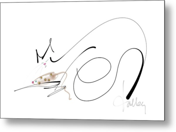 Metal Print featuring the mixed media Catnap With The Faithful Old Catnip Mouse by Larry Talley