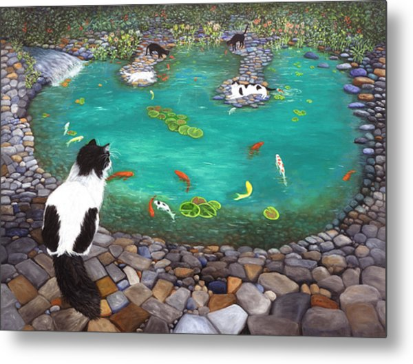 Cats And Koi Metal Print
