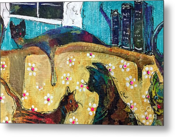 Metal Print featuring the painting Cats Hangin' Out  by Claire Bull