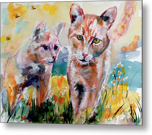 Metal Print featuring the painting Cats In The Garden Happy Days by Ginette Callaway