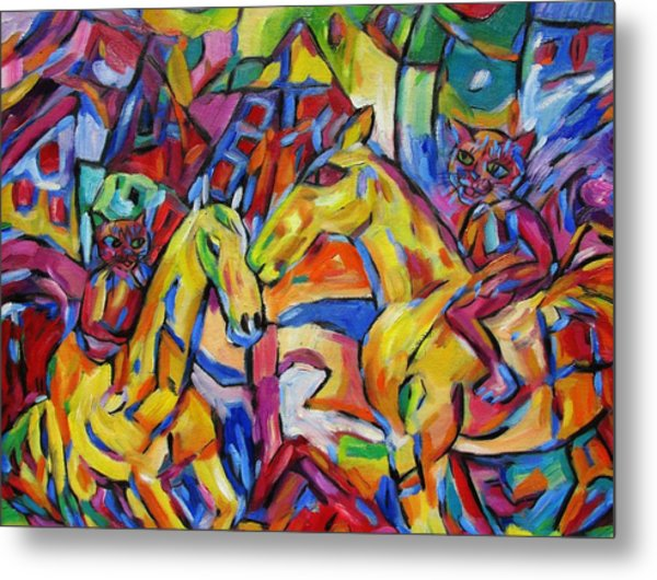 Cats On Horse Intensity Metal Print