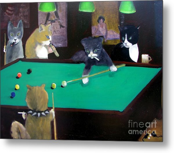 Cats Playing Pool Metal Print
