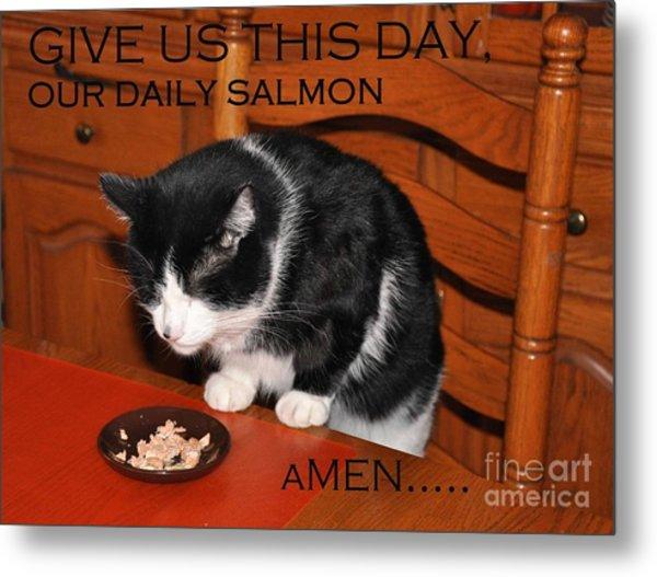 Cat's Prayer Revisited By Teddy The Ninja Cat Metal Print