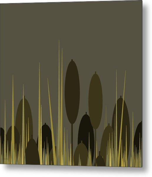 Cattails In The Rain Metal Print