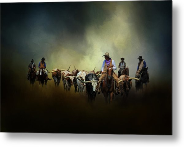 Cattle Drive At Dawn Metal Print