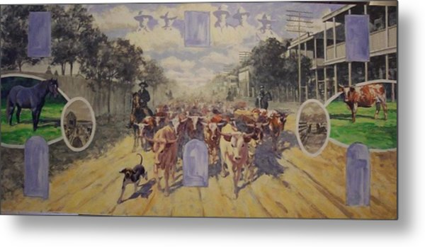 Cattle Drive Down Marion Avenue 1903 Sketch Metal Print by Michael Vires
