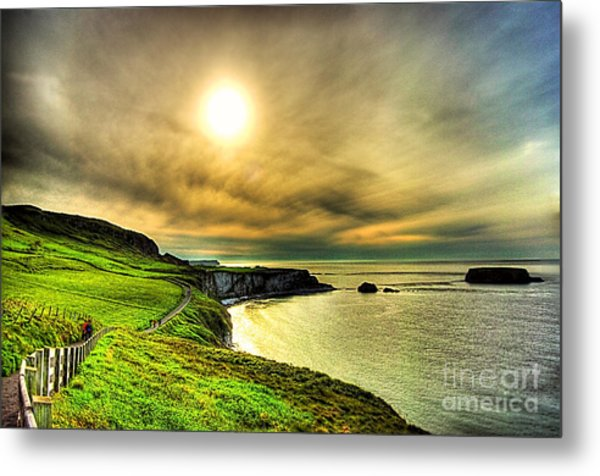 Causeway Sunset Walk Metal Print by Kim Shatwell-Irishphotographer