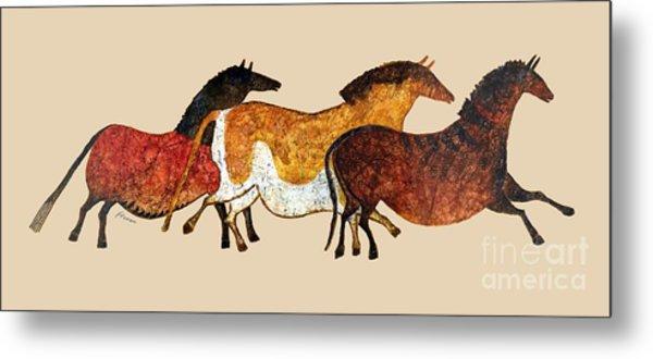 Cave Horses In Beige Metal Print