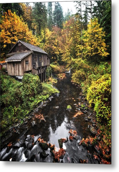 Cedar Creek Grist Mill Color Burst Metal Print