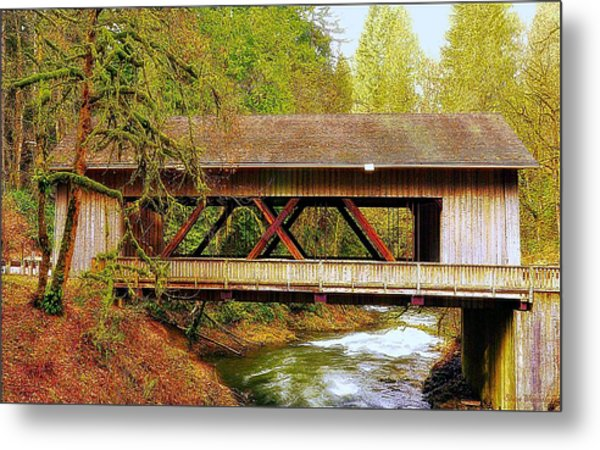Cedar Creek Grist Mill Covered Bridge Metal Print