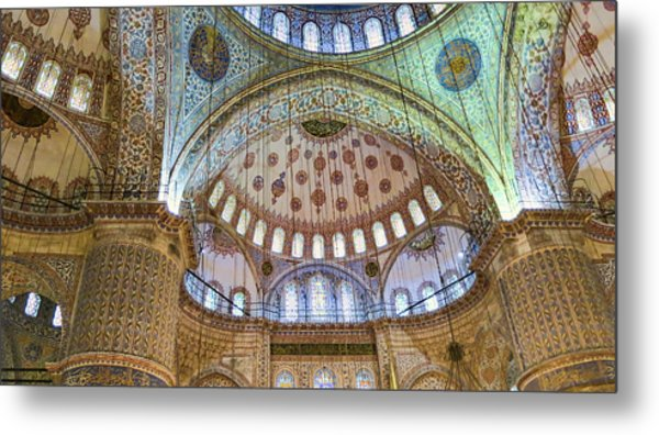 Ceiling Of Blue Mosque Metal Print