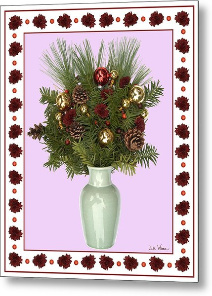 Celadon Vase With Christmas Bouquet Metal Print
