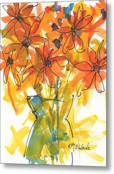 Celebration Of Sunflowers Watercolor Painting By Kmcelwaine Metal Print