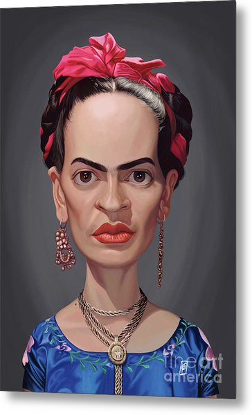 Metal Print featuring the digital art Celebrity Sunday - Frida Kahlo by Rob Snow
