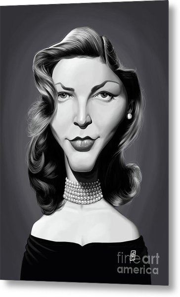 Metal Print featuring the digital art Celebrity Sunday - Lauren Bacall by Rob Snow