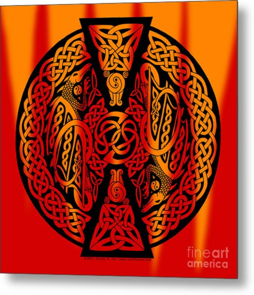 Celtic Dragons Fire Metal Print