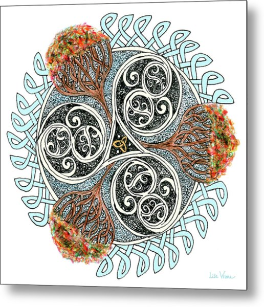 Celtic Knot With Autumn Trees Metal Print