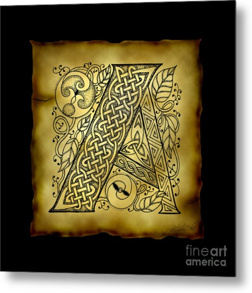 Celtic Letter A Monogram Metal Print