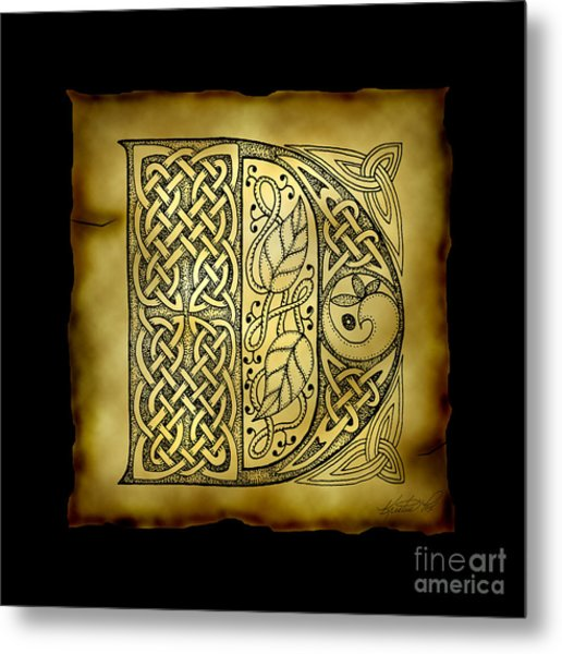 Celtic Letter D Monogram Metal Print