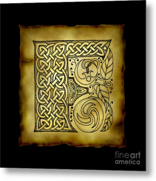 Celtic Letter F Monogram Metal Print