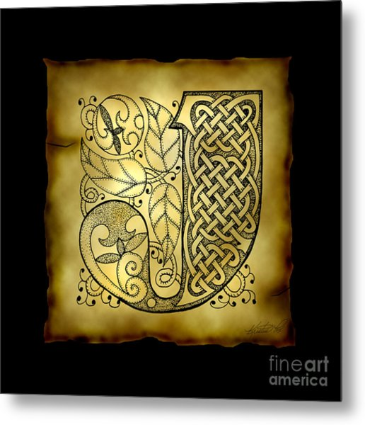 Celtic Letter J Monogram Metal Print