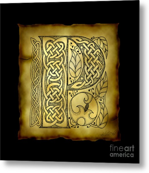 Celtic Letter P Monogram Metal Print
