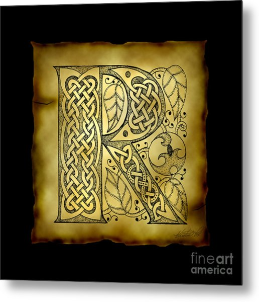 Celtic Letter R Monogram Metal Print