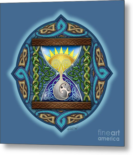 Celtic Sun Moon Hourglass Metal Print