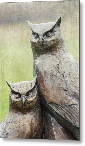 Cemetery Art Two Owls In The Rain Metal Print