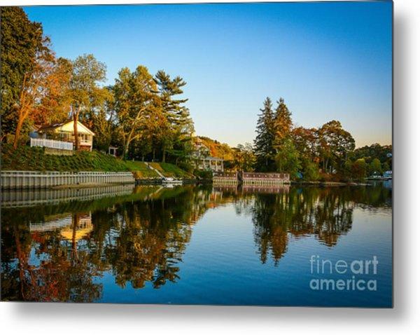 Centerport Harbor Autumn Colors Metal Print