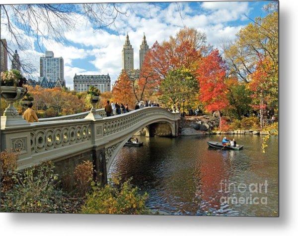 Central Park Autumn Cityscape Metal Print