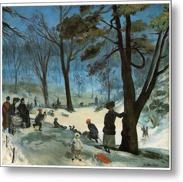 Central Park In Winter Metal Print by William Glackens