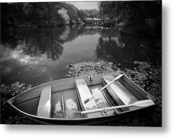 Metal Print featuring the photograph Central Park Rowboat Black And White Version by Dave Beckerman