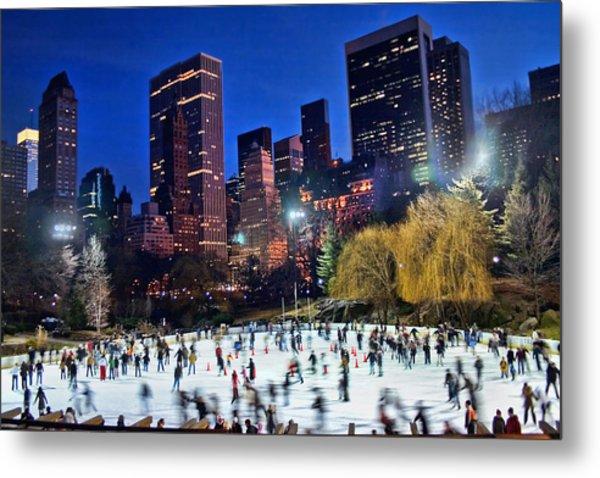 Central Park Skaters Metal Print