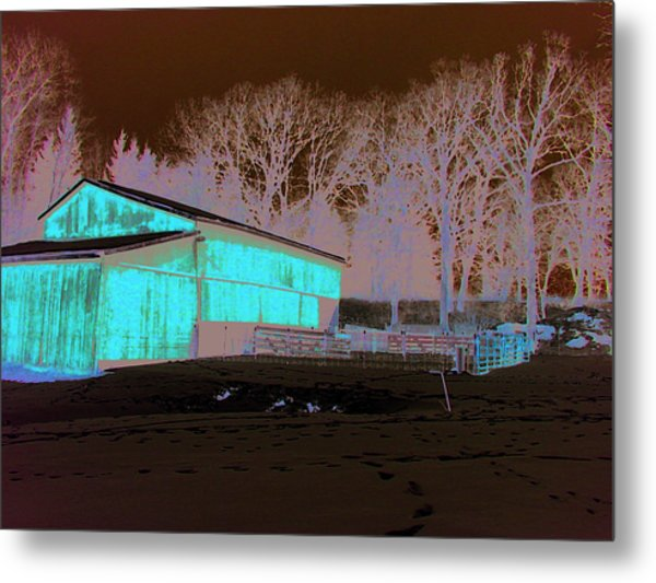 Century Farm Shed In Snow Watercolor Metal Print by Laurie With