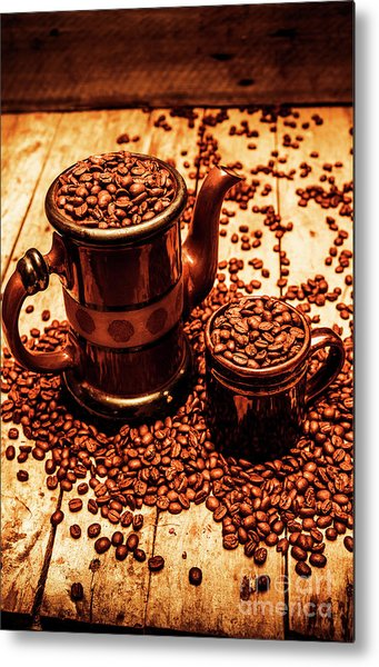 Ceramic Coffee Pot And Mug Overflowing With Beans Metal Print