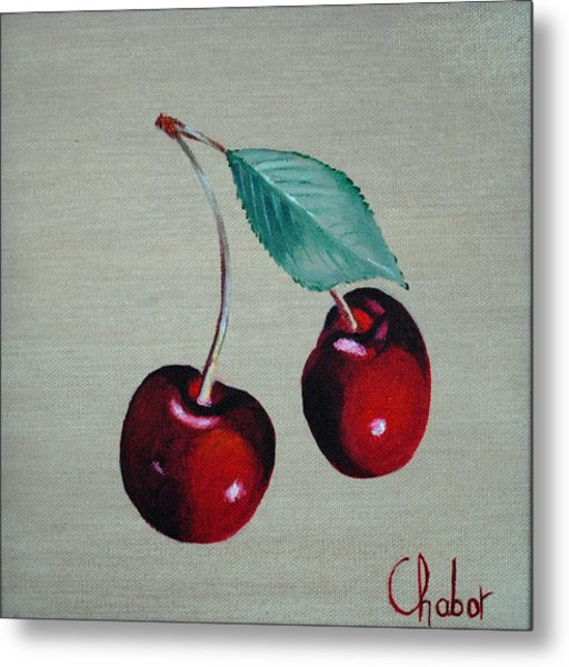 Cerises Metal Print by Veronique Chabot