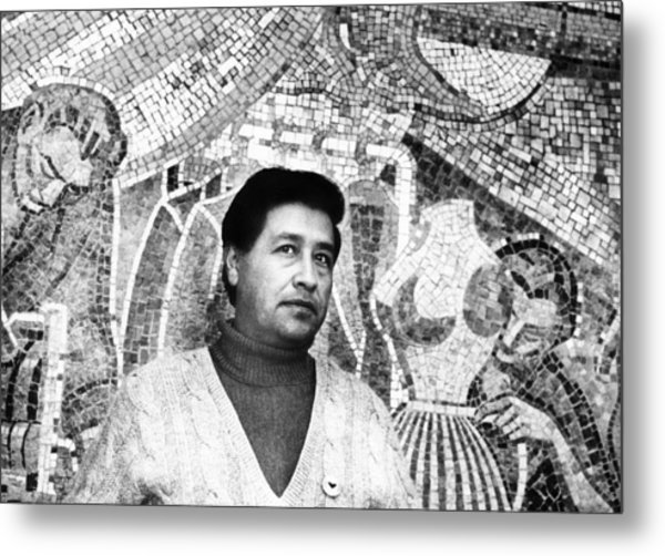 Cesar Chavez Stands In Front Of The Metal Print