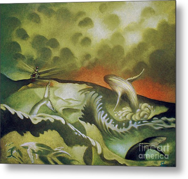 Cetacean Sunset Metal Print