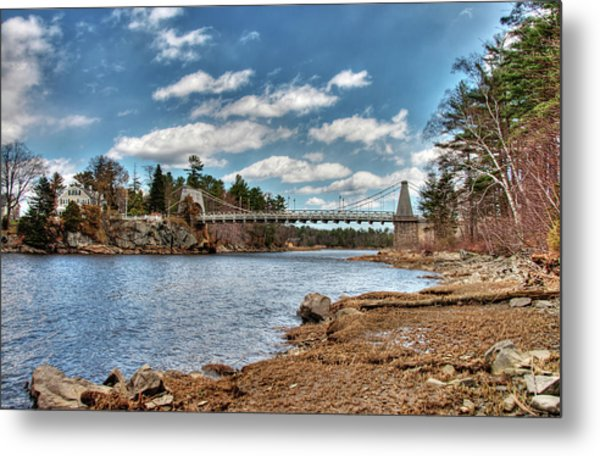 Chain Bridge On The Merrimack Metal Print