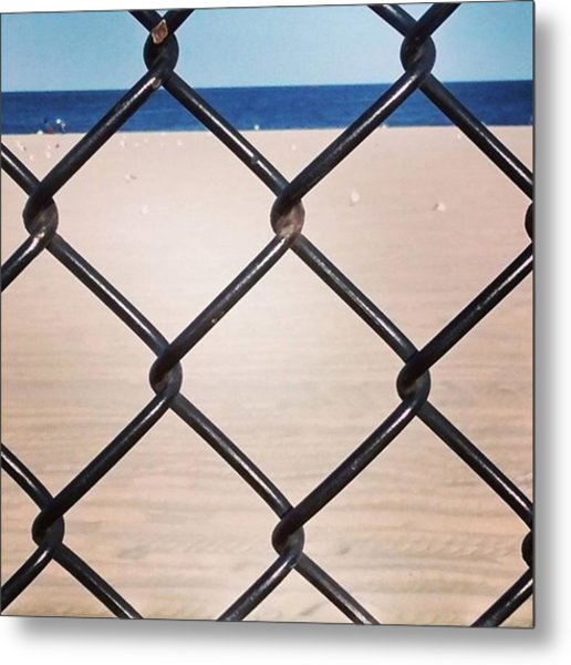 Chain Fence At The Beach Metal Print