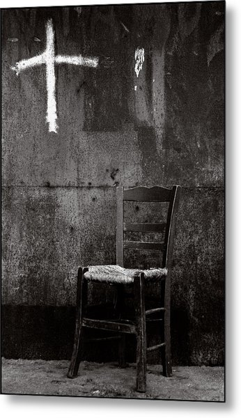 Chair And Cross Chania Crete Metal Print by Werner Hammerstingl