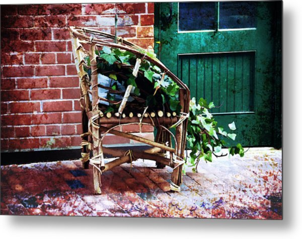 Chair And Ivy Metal Print by Elaine Manley