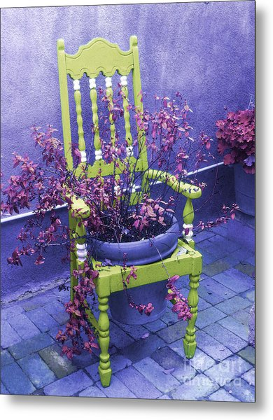 Chair In Chartreuse Metal Print