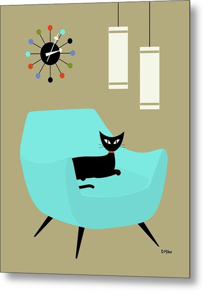 Chair With Ball Clock Metal Print