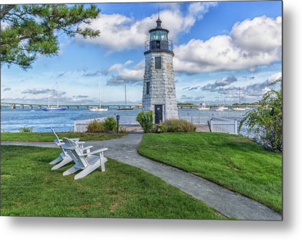 Chairs At Newport Harbor Lighthouse Metal Print