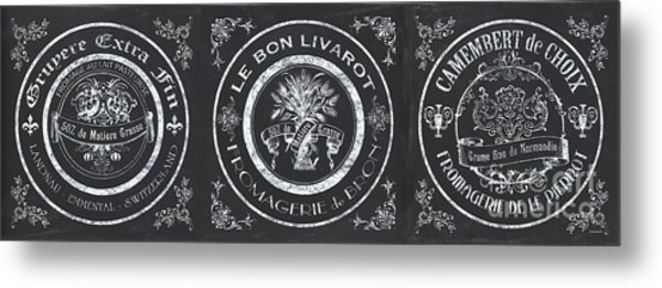 Chalkboard French Cheese Labels Metal Print