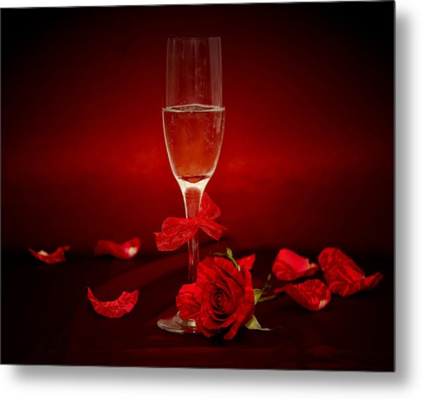 Champagne Glass With Red Roses And Petals Metal Print