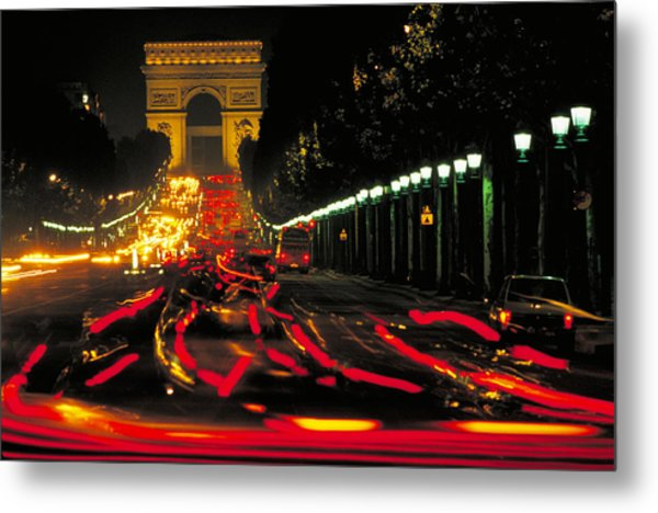 Champs Elysee In Paris Metal Print by Carl Purcell